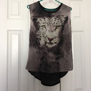 Tops - Graphic tiger burn out tank top